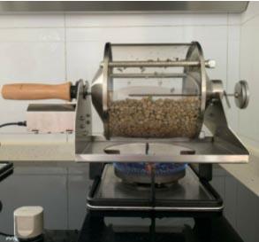 home coffee roaster machine - drum roaster on a gas burner